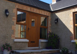 Detail of front door of new dwelling on a farm near Lisburn